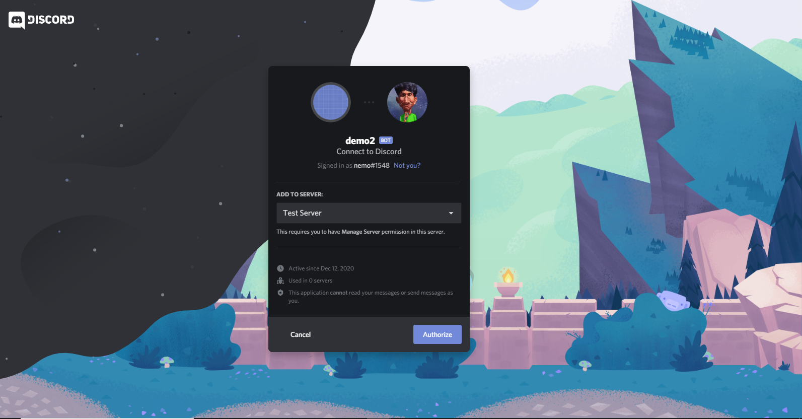 create a discord bot in JS