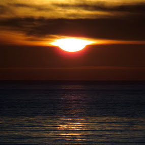 Sun Drop by Michele Whitlow - Landscapes Sunsets & Sunrises ( clouds, reflection, sunset, pacific ocean, horizon )