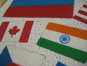 Photo: Details on the Canadian and Indian flags