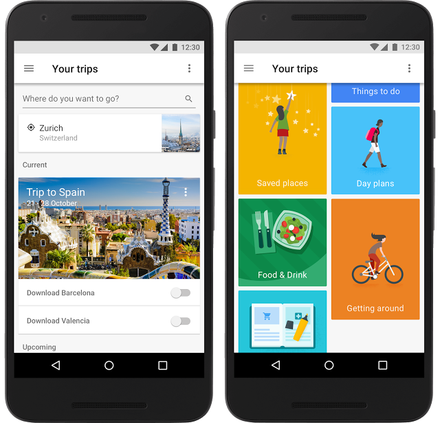 Screenshot of Google Trips app