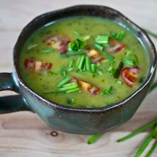 Ramp and Potato Soup with Saffron, Chives and Tomatoes