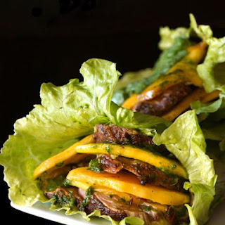 Spiced Pork and Mango Chimichurri Lettuce Wraps