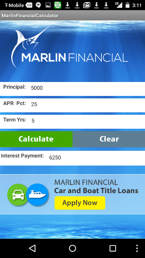 Marlin Loan Calculator- screenshot