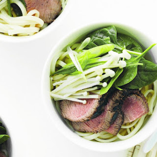 Udon Noodles With Teriyaki Steak And Spinach.