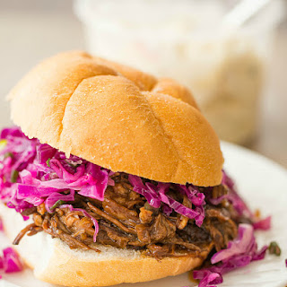 Balsamic-Honey Pulled Pork with Asian Slaw.