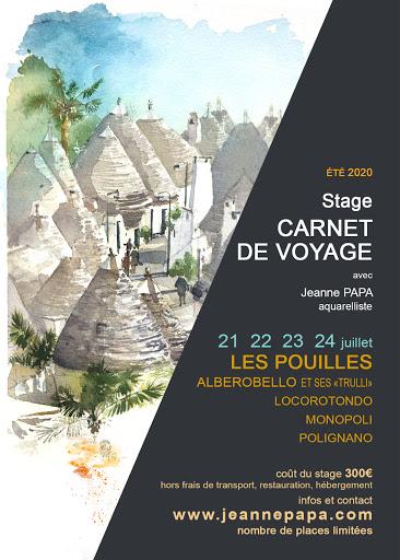 stage carnet de voyage POUILLES  ITALIE avril 2020 seine et marne 77 fontainebleau
