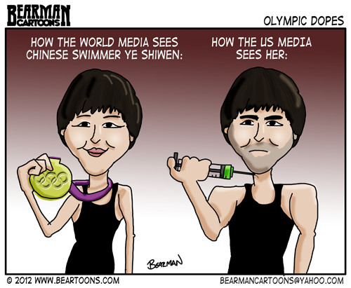 "Photo: Latest Cartoon biggie sized just for G+   U.S. Media Dopes  How U.S. Media views Chinese Olympic Swimmer Ye Shiwen  Plus another chance to vote for me in the editorial cartoon contest.  Direct link http://www.thecartooniststudio.com/Vote.aspx  then search ""bearman"", click on the image and vote.  Appreciate the support.  More conversation: http://beartoons.com/2012/08/02/us-media-olympic-dopes/  #London2012   #olympics"
