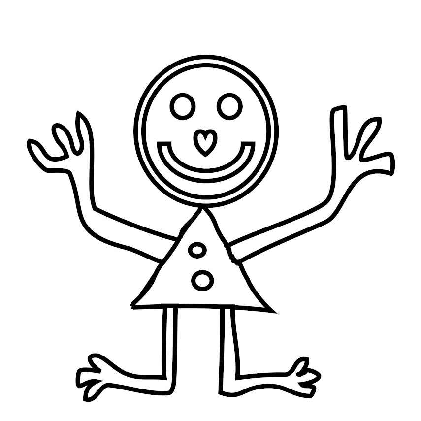 A wacky stick figure drawing with mismatched head, body, arms and legs.