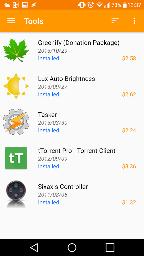 Purchased Apps- screenshot