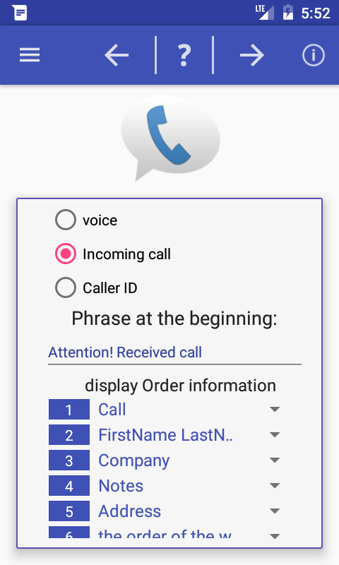 Speaks info of call and sms- screenshot