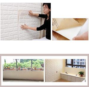 Tapet 3D caramizi albe, auto-adeziv pentru interior, 70 x 77 cm