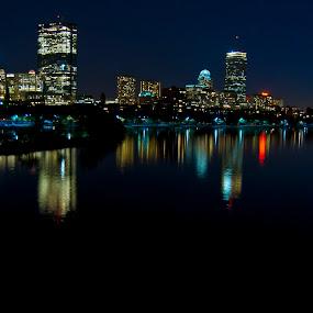 Boston Skyline by Dan Allard - City,  Street & Park  Skylines ( lights, reflection, skyline, boston, night, pwcskylines, city,  )