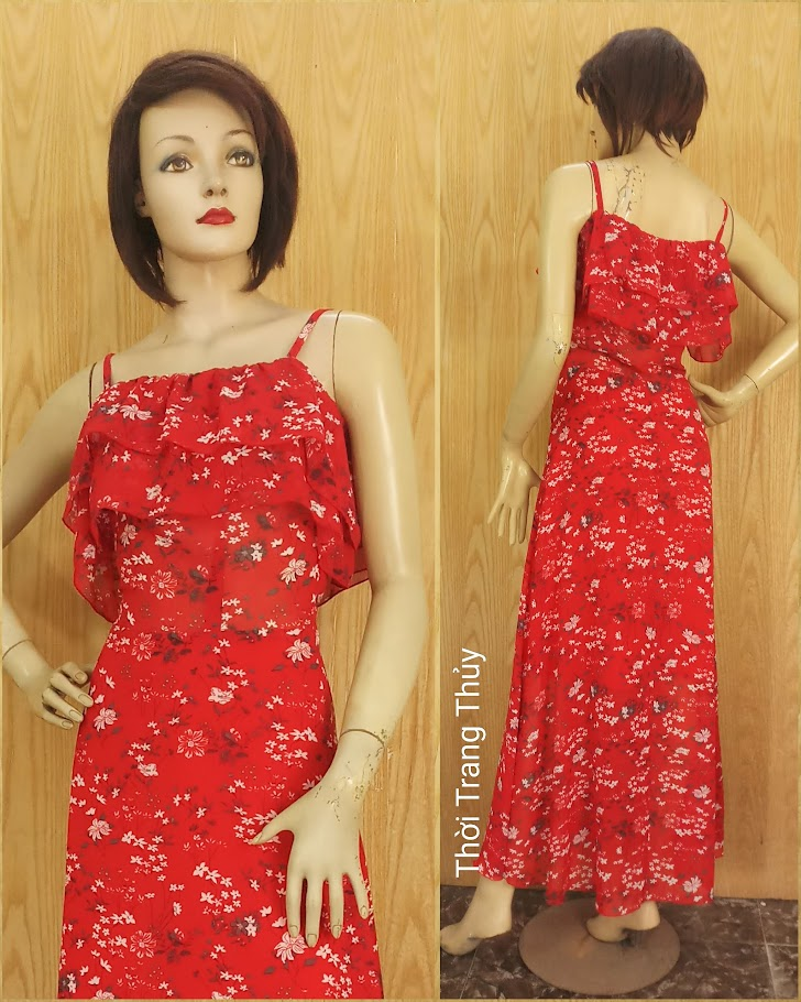 Váy Maxi hai dây hở vai hoa nhí màu đỏ V688 thời trang thuỷ sài gòn