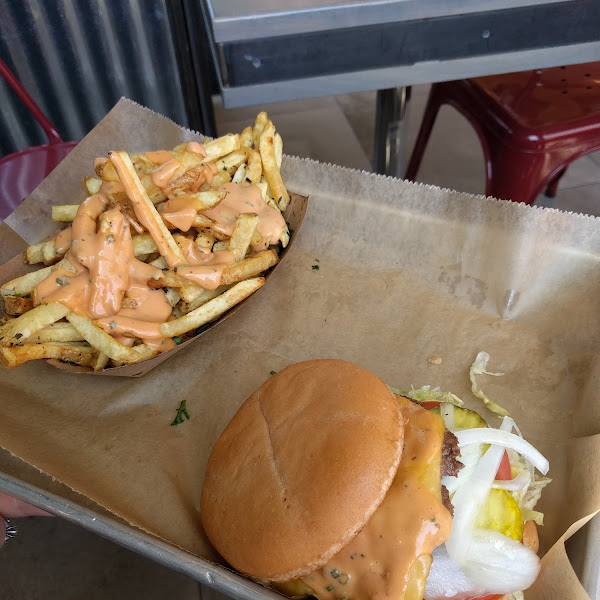Truffle fries and gf wicked burger (pickles were awesome)