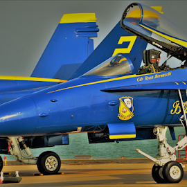 F-18 Hornet by Benito Flores Jr - Transportation Airplanes ( f-18, navy, blue angles, hornet, corpus christi )