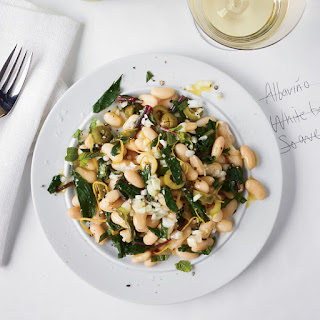 Dandelion and White Bean Salad with Mint and Olives