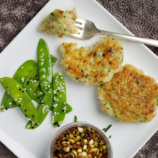 Shrimp Patties With Sesame Snow Peas.