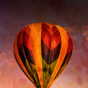 Sunset Ride by Gabrielle Libby - Transportation Other ( red, maine, blue, green, texture, sunset, hot, air, yellow, balloon )