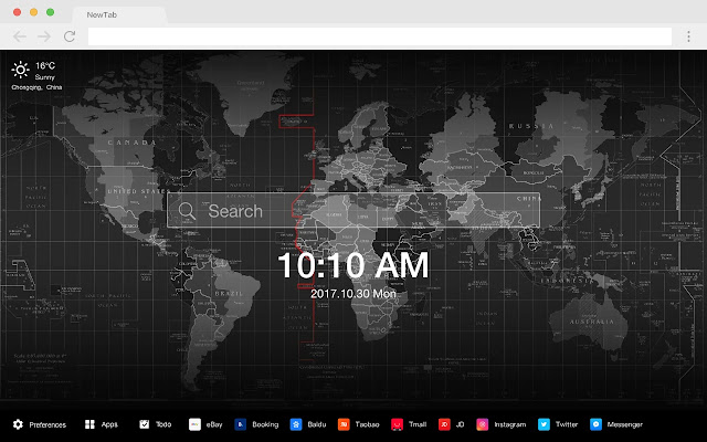 Atlas Map Popular HD New Tabs Theme