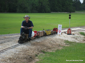 Photo: Phillip Bell with his narrow gauge train.  HALS-SLWS 2009-0523