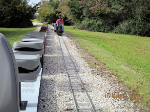Photo: David Hannah on Phase III parallel to Phase II track with Clyde Brown and his 2-6-0    2013-1116 DH3