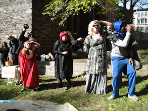 Photo: Graduate candidates perform Little Red Riding Hood and other Halloween Stories at the Hamilton Heights Parent Association Halloween Event.