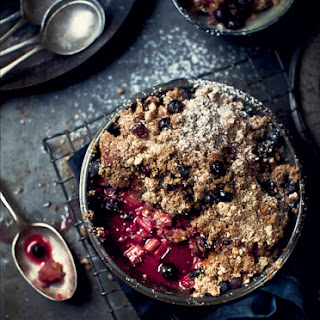 Rhubarb, Peach and Raspberry Blueberry Muffin Pie with Vanilla Almond Crumble Recipe