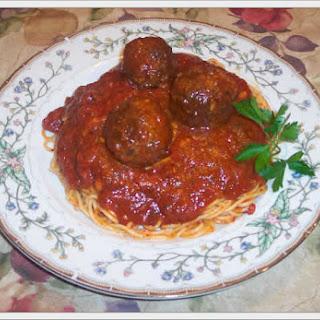 Pasta Sauce, Meatballs, Sausage and Braciole.