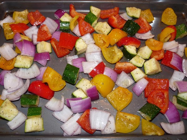 Toss peppers, zucchini, and onion with olive oil, 1/2 - 3/4 tsp salt, and...