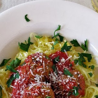 Roasted, Buttered Spagetti Squash with 2 Bean Croquettes aka Veggie Meatballs {12 Weeks of Winter Squash}.