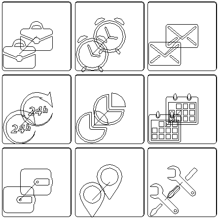 Vector Icons in Flat Design Illustration Outline