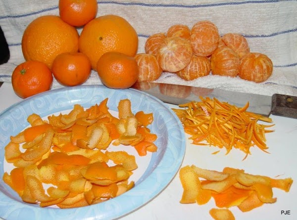 Prepare orange rind as follows: Wash navel oranges (about 4 or 5) and clementines...