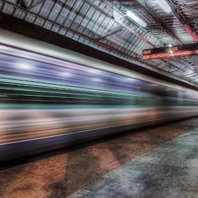 Speed by Kallol Bhattacharjee - Transportation Trains ( platform, low light., hdr, night photography, station,  )