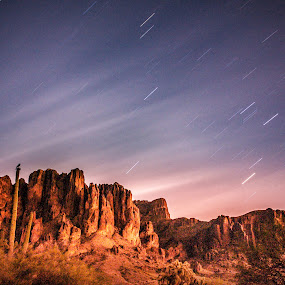 Make a wish by Timothy Horng - Landscapes Starscapes ( mountain, superstition, desert, sunset, arizona, trail, star )