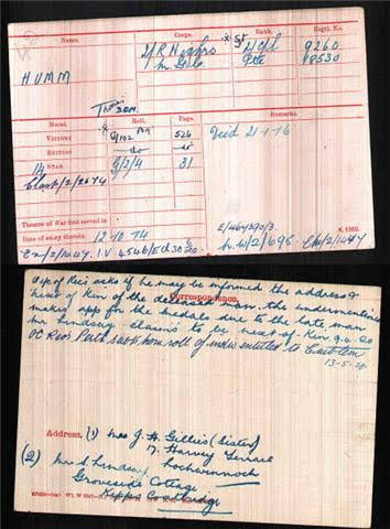Thomas   Humm DCM's Medal Index Card