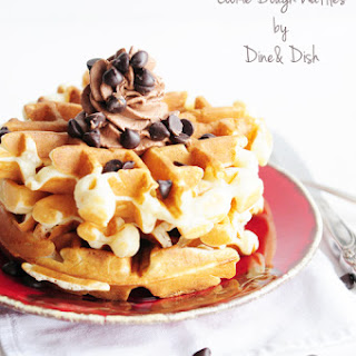 Belgian Cookie Dough Waffles with Chocolate Whipped Cream.