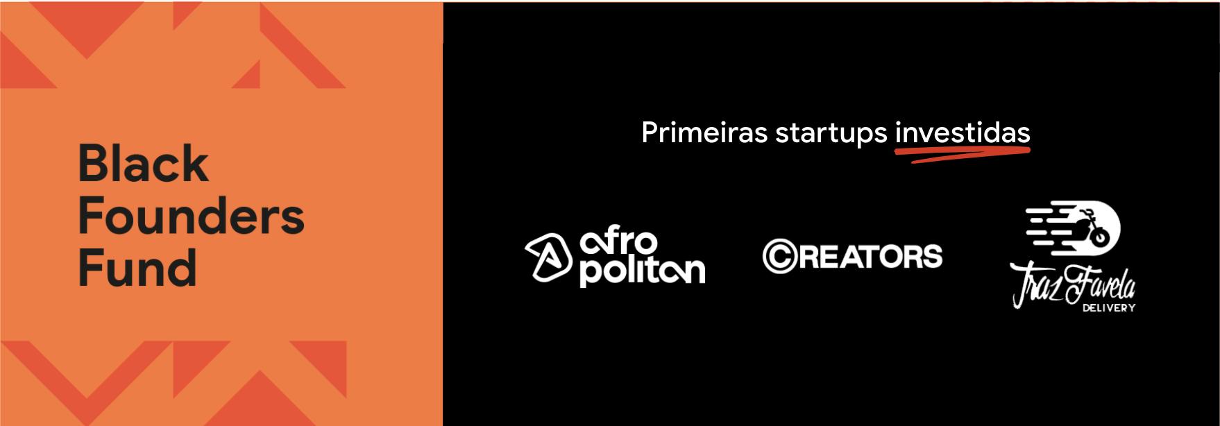 Imagem partida em dois, com fundo laranja à esquerda e fundo   preto à direita. Na parte com o fundo laranja, há um texto em preto dizendo   'Black Founders Fund'. Na parte com o fundo preto, o texto diz 'Primeiras   Startups Investidas' e, abaixo, há o logo das empresas Afropolitan,   Creators e TrazFavela.