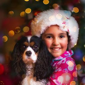 Lights of Christmas by Paul Cushing - Babies & Children Child Portraits ( lights, girl, christmas, puppy, cavalier king charles, bokeh )