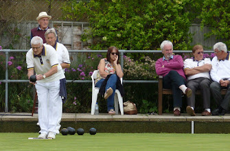 Photo: Derek Crocombe with hat arrives to open the bar. Bob King sneaks in with the spectators. Dave lines up and- - -