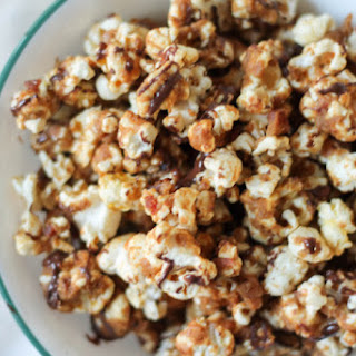 Chocolate Drizzled Bacon Peanut Butter Caramel Corn {no corn syrup!}
