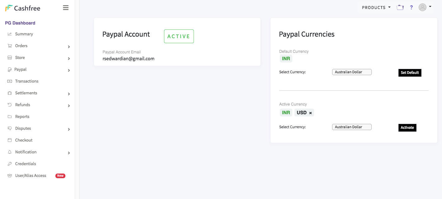 PayPal Integration in Cashfree Payment Gateway