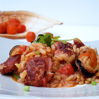 Mussels and Chorizo Risotto.