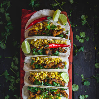 Achiote Chicken Tacos with Esquites & Avo-Queso.