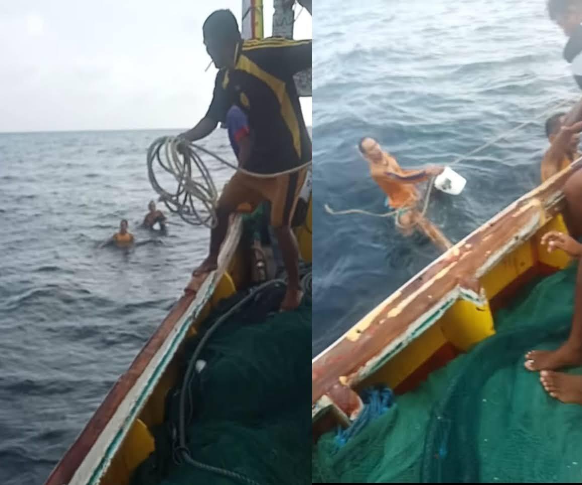 Perahu Nelayan Pasongsongan Berhasil Selamatkan 2 Orang yang Mengapung Dilautan.