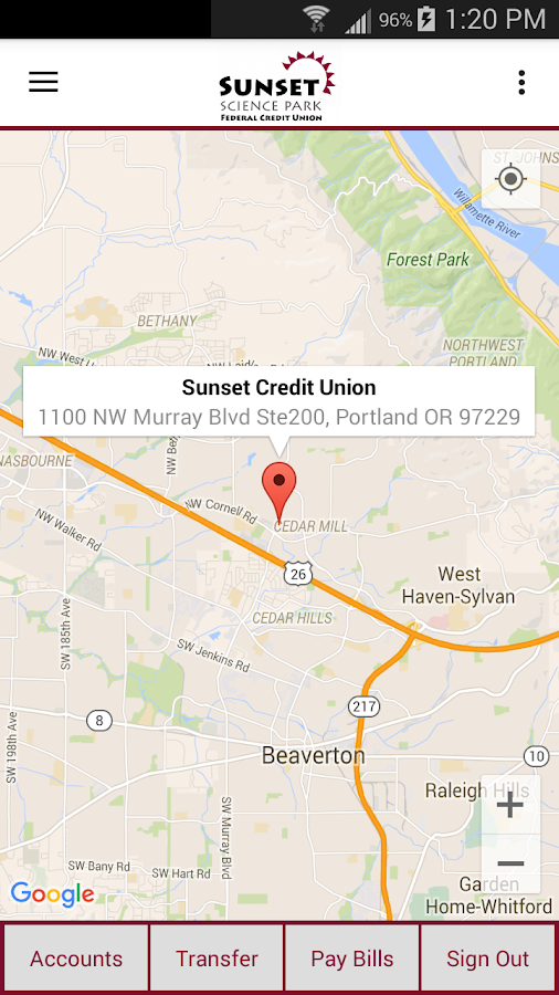 Sunset Credit Union- screenshot