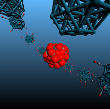 Photo: 8. The image depicts a Pd38 cubooctahedral nanclusters at various degrees of adsorbate saturation.  Dr Constantinos Zeinalipour-Yazdi, University College London Department of Chemistry.  The study of dynamic processes in catalysis and materials chemistry using accurate quantum mechanical calculations is a computationally demanding process. The high performance computing resources offered by ARCHER through the Materials Chemistry Consortium are pivotal for the performance of such calculations. In this study we explore through hybrid-DFT molecular dynamics simulations the spatial and time evolution of adsorbates on the surface of nanoclusters. This research has resulted in fascinating simulations with respect to the dynamic motion of adsorbates on the surface of nanoparticles at high coverages.