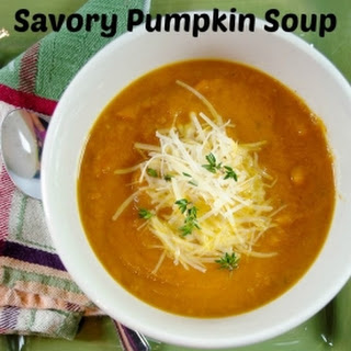 Savory Pumpkin Soup with Fresh Thyme Parmesan Cheese