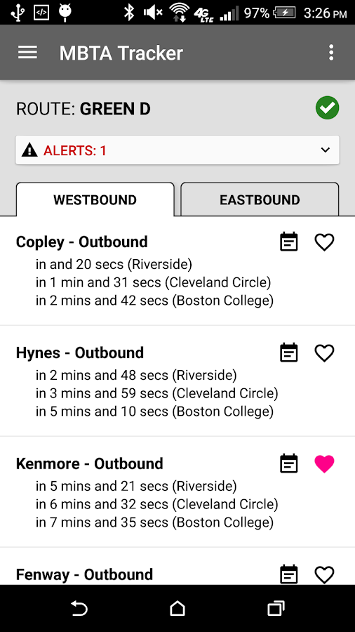MBTA Tracker- screenshot