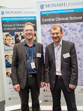 Photo: Dr Steven Petratos, coordinator of the Translational Research symposium with Dr Stephan Brennan, AstraZeneca sponsor representative. http://www.med.monash.edu.au/cecs/events/2015-tr-symposium.html