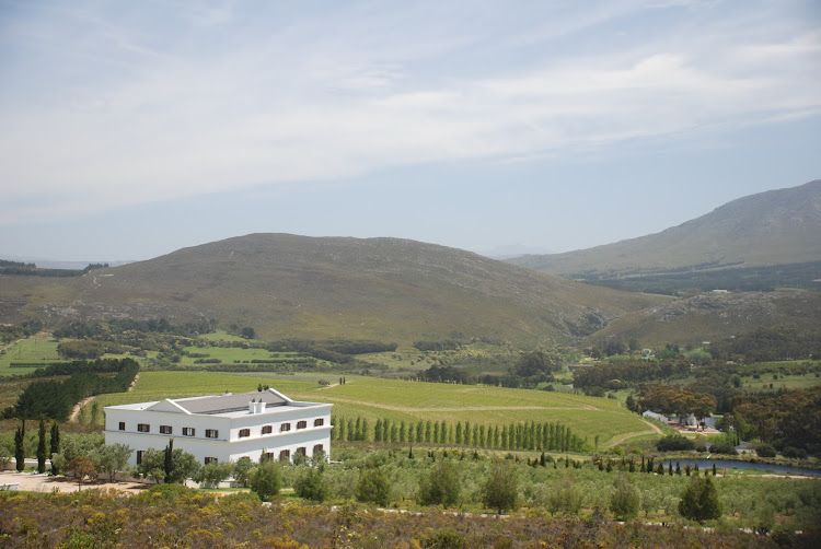 The Hemel-en-Aarde Valley with Braemar House, the homestead on Hamilton Russell Vineyards, in the foreground